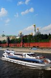 White cruise ship sailg on the Moscow river. Royalty Free Stock Photography