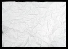 White crumpled paper on black Stock Image
