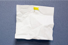 White crumpled paper note stick Royalty Free Stock Images