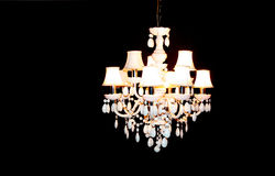 White Crystal Chandelier Lighting stock photo