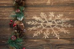 White Crystal Snowflake Wooden Background stock images