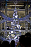 White crystal Christmas tree. This photo of the Christmas tree made from crystals and white lights. This photo was taken in pavilion mall during the celebrations Royalty Free Stock Photo