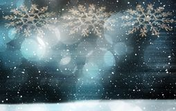 Blue Crystal Festive Christmas Holiday White Snowflakes Snowfall Background stock photos