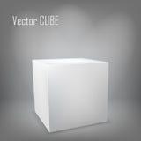White cube. On gray background Stock Photo