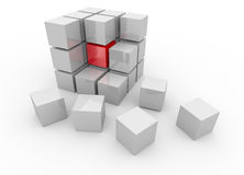 White cube 3D. Isolated. Kernel Royalty Free Stock Photos