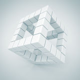 White Cube Blocks Construction Business Icon. 3d Render Illustration Royalty Free Stock Photography