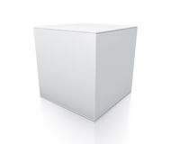 White cube box from close up right view. Stock Photo