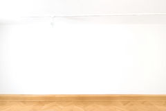 White cube empty blank wall art gallery room wood floor parquet interior design stock photo