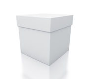 White cube gift box from close up right view. Royalty Free Stock Photography
