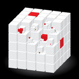 White cube with red parts Stock Photo