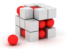 White cube and red sphere Royalty Free Stock Photos