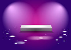 White cube stage with pink lights Royalty Free Stock Photos