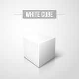 White cube on white background with reflection Stock Image