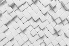 White cubes abstract 3d background. White abstract graphic background made of white cubes in front diagonal view, 3d illustration for different conceptual Stock Photos