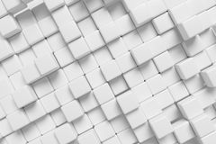 White cubes abstract diagonal 3d background. White abstract diagonal background made of white cubes in front view, 3d illustration for different conceptual Royalty Free Stock Images