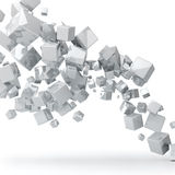White cubes background. Abstract 3D glossy white cubes background royalty free illustration