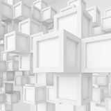 White Cubes Background. 3d Illustration of White Cubes Background. Abstract Futuristic Design Royalty Free Stock Photography