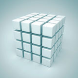 White Cubes Blocks Construction Business Concept. 3d Render Illustration Stock Photography