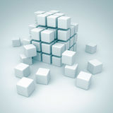 White Cubes Blocks Teamwork Construction Concept. 3d Render Illustration vector illustration