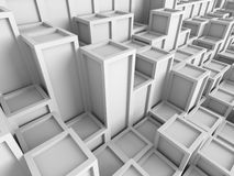 White cubes blocks wall background. 3d render illustration Royalty Free Stock Photography