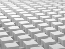 White cubes connected by links. Connected cubes network concept background. 3D illustration Stock Images