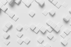 White cubes 3d background. White graphic background made of white cubes in front view, abstract 3d illustration for different conceptual graphic design projects Royalty Free Illustration