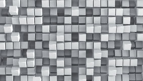 White cubes 3D render background. White cubes extruded mosaic. Geometric 3D render. Computer generated abstract background stock illustration