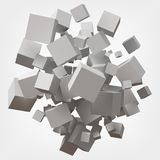 White cubes. 3d style vector illustration. Suitable for any banner, ad, technology and abstract themes Stock Photography