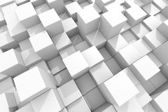 White cubes different height. Stock Photo
