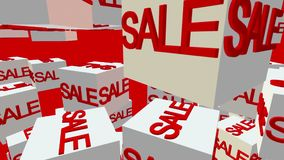 White cubes with inscription sale on red stock video footage