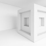 White Cubes Interior. 3d Illustration of White Cubes Interior. Abstract Futuristic Design. Modern Architecture Background Royalty Free Stock Photo