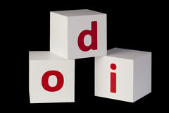 White cubes with letters Royalty Free Stock Photo