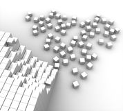 White cubes lined up and scattered Royalty Free Stock Image
