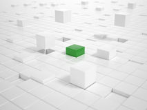 White Cubes and one green Cube building a Platform Royalty Free Stock Photography
