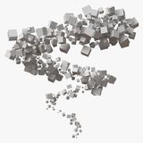 White cubes stroke in motion. 3d style vector illustration. Suitable for any banner, ad, technology and abstract themes Royalty Free Stock Photography