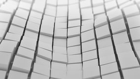 White cubes surface waving. Abstract 3D Royalty Free Stock Photo