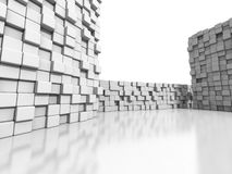 White cubes wall 3d background. 3d render illustration Stock Photos