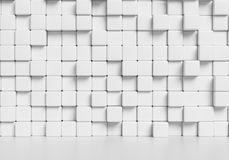 White cubes wall and white floor 3d background. White wall made of white cubes and smooth floor with reflection, abstract interior, simple 3d illustration Stock Photos