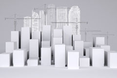 White cubes with wire-frame buildings and tower Royalty Free Stock Photos
