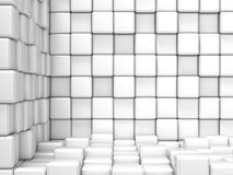 White, cubic, corner space. Raster modern background. Can be used for graphic or website background Royalty Free Stock Photography