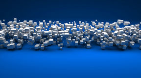White cubic particles against a blue background Royalty Free Stock Photography