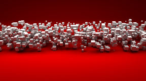 White cubic particles against a red background. 3D rendering of white cubic particles against a red background Royalty Free Stock Images