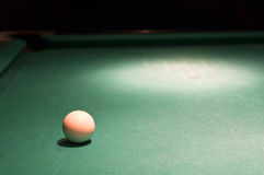 White cue ball on pool table Stock Photos