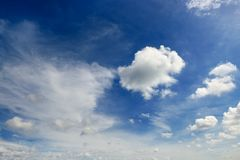 White cumulus clouds against the background of an epic blue sky. White cumulus clouds against the background of an epic dark blue sky Royalty Free Stock Images
