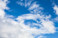 White cumulus clouds in blue sky. At day. Natural background photo stock photo