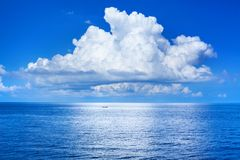 Free White Cumulus Clouds In Blue Sky Over Sea Landscape, Big Cloud Above Ocean Water Panorama, Seascape Panoramic View, Cloudy Weather Royalty Free Stock Photos - 161949978