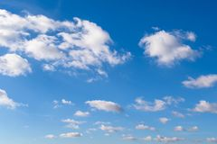 White cumulus clouds. In good sunny weather stock images