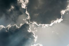 White cumulus congestus clouds on dramatic dark blue sky backgro. Und. Vibrant outdoors horizontal image with copy space Royalty Free Stock Photography