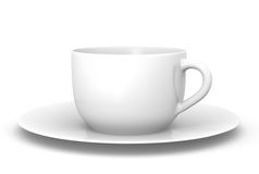 White cup. Simple white tea cup. 3D rendered image Stock Photography