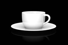 White cup on black. White tea/coffee cup on black background. 3D rendered image Stock Photo